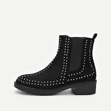 Romwe Studded Decor Western Ankle Boots
