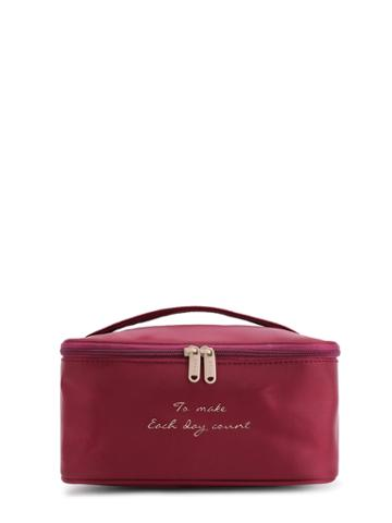 Romwe Slogan Print Double Zipper Makeup Bag