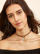 Romwe Brown Leaf Pendant Cord Choker Necklace
