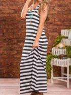 Romwe Sleeveless Striped Maxi Dress