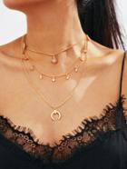Romwe Horn Pendant Layered Chain Necklace