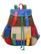 Romwe Multicolor Buckled Canvas Backpack