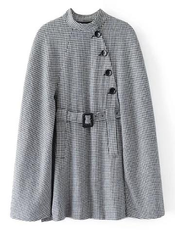 Romwe Belted Longline Houndstooth Cape Coat