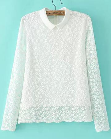 Romwe Embroidered Lace White Blouse