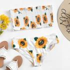 Romwe Plus Random Flower Print Shirred Bandeau Bikini Set