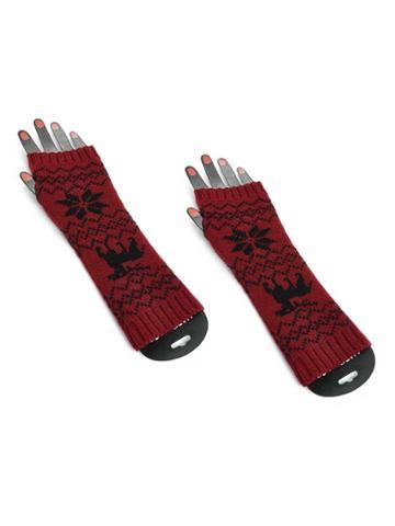 Romwe Elbow Length Knit Fingerless Gloves
