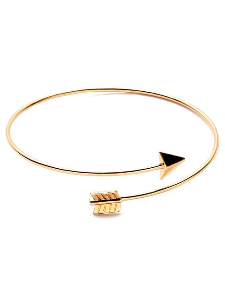 Romwe Gold Plated Arrow Wrap Bangle
