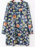 Romwe Owl Print Denim Tshirt Dress