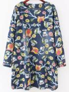 Romwe Owl Print Denim Tshirt Dress