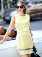 Romwe Yellow Round Neck Sleeveless Contrast Gauze Check Print Dress