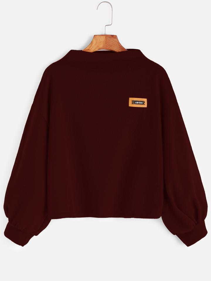 Romwe Burgundy Funnel Neck Drop Shoulder Lantern Sleeve Patch Sweatshirt
