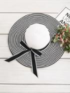 Romwe Striped Bow Tie Floppy Hat