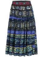 Romwe With Sequined Tribal Print Pleated Skirt