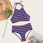 Romwe Striped Halter Top With High Waist Bikini Set