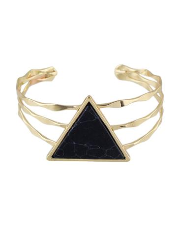 Romwe Black Color  Wide Cuff Bangles Bracelets