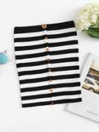 Romwe Single Breasted Striped Tube Top