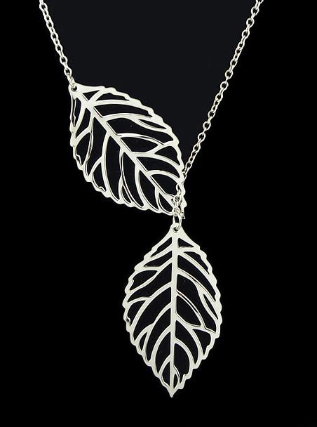 Romwe Silver Leaf Chain Necklace