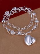 Romwe Silver Heart Pendant Necklace
