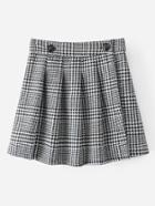 Romwe Pleated Houndstooth Skirt