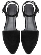 Romwe Black Point Toe Ankle Strap Suede Flats