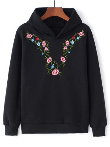 Romwe Botanical Embroidered Hoodie