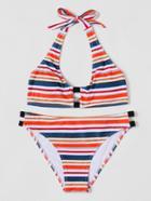 Romwe Striped Colorblock Bikini Set