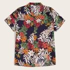 Romwe Guys Button Front Tropical Print Shirt