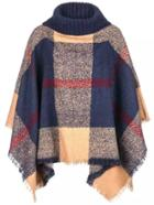 Romwe Multicolor Plaid Turtleneck Fringe Poncho Sweater