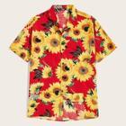 Romwe Guys Revere Collar Sunflower Print Shirt