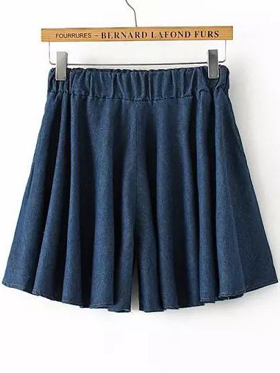 Romwe Navy Elastic Waist Pleated Denim Shorts