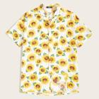 Romwe Guys Notched Collar Sunflower Print Shirt