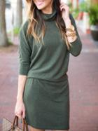 Romwe Green High Neck Tshirt Dress