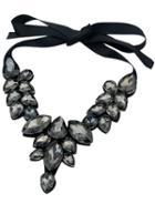 Romwe Black Drop Gemstone Necklace