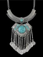 Romwe Tibetan Style Silver Color Coins Chunky Statement Necklace