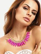Romwe Hot Pink Spike Turquoise Necklace