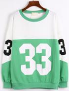 Romwe Color-block Number Print Sweatshirt