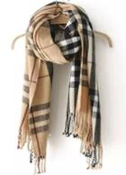 Romwe Check Print Tassel Knit Scarf-beige