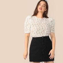 Romwe Plus Tie Back Puff Sleeve Embroidered Mesh Top