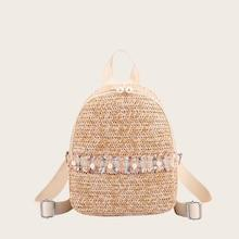 Romwe Faux Pearl Decor Woven Backpack