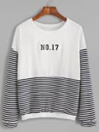 Romwe Stripe Block Number Patch Sweatshirt