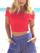 Romwe Off-the-shoulder Crop Top - Red