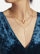 Romwe Letter V Detail Layered Chain Necklace