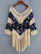 Romwe V Neck Fringe Hollow Out Feather Print Shirt