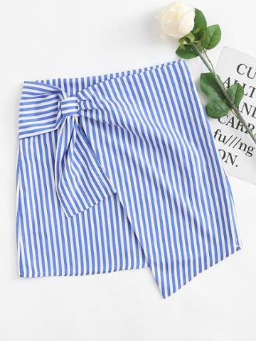 Romwe Asymmetrical Hem Striped Skirt