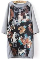 Romwe Floral Print Loose Dress