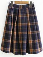 Romwe Plaid Back Zipper Pleated Skirt