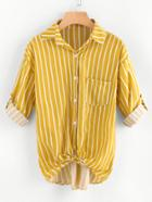 Romwe Rolled Cuff Striped Knot Front Dip Hem Blouse
