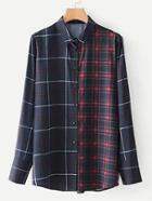Romwe Longline Plaid Blouse