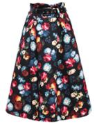 Romwe Floral Print Belt Skirt