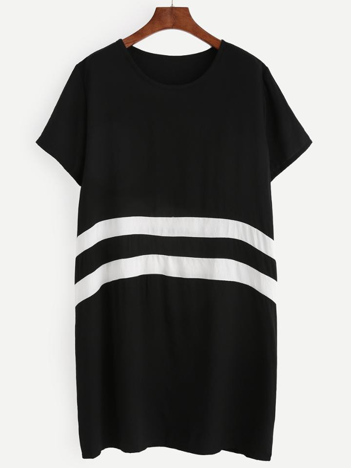 Romwe Black White Color Block Tshirt Dress